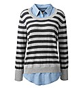 Knitted Jumper With Mock Shirt