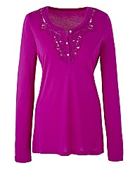 Jersey Top with Lace Detail Neckline