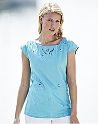 Broderie Cut Out Cotton Blouse
