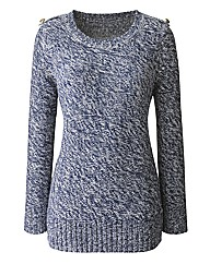 Crew Neck Jumper With Epaulettes