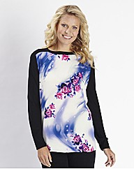 Knitted and Printed Woven Jumper
