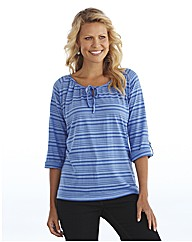 Burnout Striped Jersey Top Longer Length