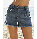 Stud Denim Shorts