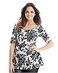 Flocked Jersey Peplum Top