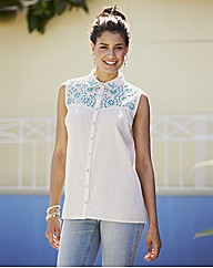 Broderie Anglaise Trim Sleeveless Blouse