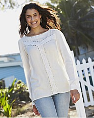 Crochet and Stud Trim Blouse