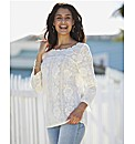Lace Blouse with Stud Neck
