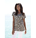 Stone Leopard Print Jersey Top