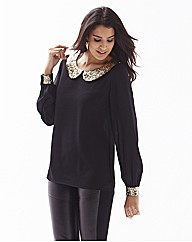 Sequin Trim Blouse