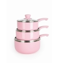 3 Piece Aluminum Nonstick Pink Pan Set