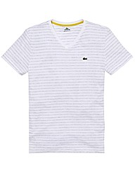 Lacoste Mighty V Neck Stripe T Shirt