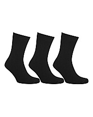HJ Hall 3 Pack Plain Black Socks