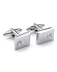 &City Single Clear Crystal Cufflinks