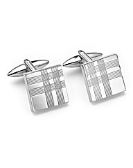 &City Embossed Check Silver Cufflinks