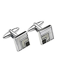 &City Geo Square Silver Cufflinks