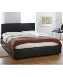 Lyon F Lthr Storage Bed with Matt - DBL