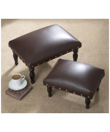 Set of Two Faux Leather Footstools