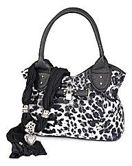 Leopard Print Bag and Heart Scarf Set