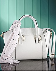 White Bag and Spot Scarf Set