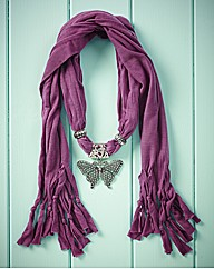 Purple Butterfly Detail Scarf