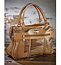 Multi Tone Tan Leather Patchwork Bag