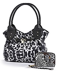 Animal Print Handbag & Purse Set