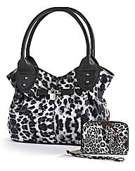 Animal Print Handbag & Purse Set