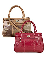 Red & Tan Patchwork Leather Shopper Set