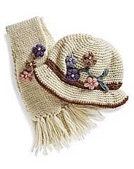 Flower Embellished Hat & Scarf Set