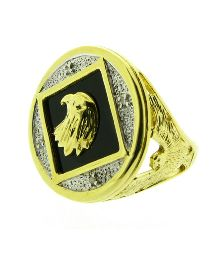 Gold Plated Black Agate Diamond Ring