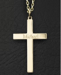 9 Carat Gold Personalised Cross Pendant