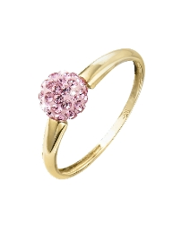 Evoke 9 Carat Gold Pink Crystal Ring
