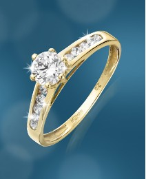 9 Carat Yellow Gold Cubic Zirconia Ring