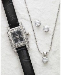 Black Strap Watch & Jewellery Set