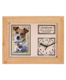 Personalised Pine Framed Dog Clock