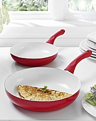 Set of 2 Ceramic Fry Pans Red