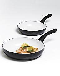 Set of 2 Ceramic Fry Pans Black