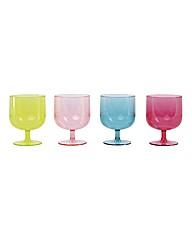 Summer Fete 4 Plastic Wine Glasses