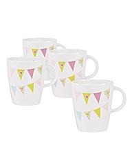 Summer Fete Set of 4 Plastic Picnic Mugs