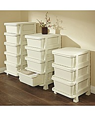 Faux Rattan Storage 5 Drawer