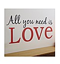 Words Wall Art All You Need Is Love