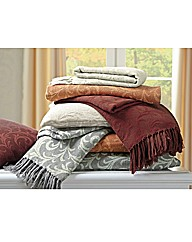 Cotton Acanthus Design Throw BOGOF