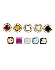 Instant Button Vintage Round Set of 5