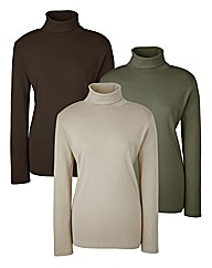 Roll Neck Tops Pack of 3