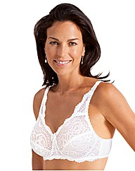 Playtex White Underwired Flower Lace Bra