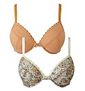 Simply Yours Peach Print Plunge Bras