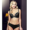 Splendour Black Satin Padded Plunge Bra