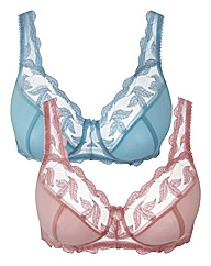Ava Pink Blue Pack of 2 Full Cup Bras