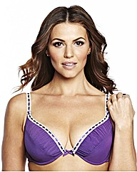Shapely Figures Purple White Plunge Bras