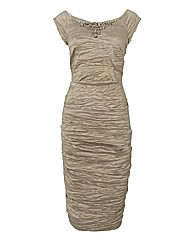 Montique Shimmer-finish Crinkle Dress